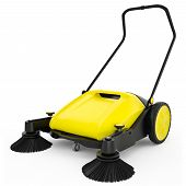 foto of sweeper  - Sweeper with black plastic and yellow metal on a white isolated background - JPG