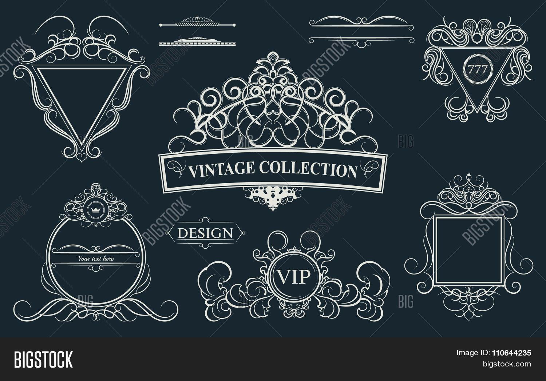 Vintage Set Decor Elements Decoration For Logo Wedding Album O