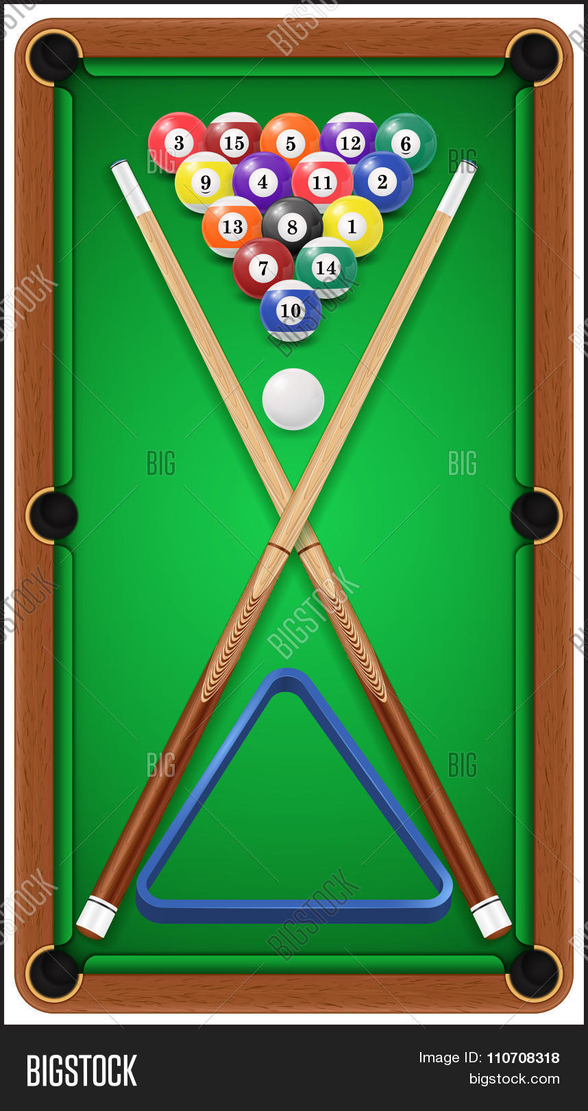 Billiard Set. Billard Balls, Cue And Billiard Triangle In A Pool Table.  Vector
