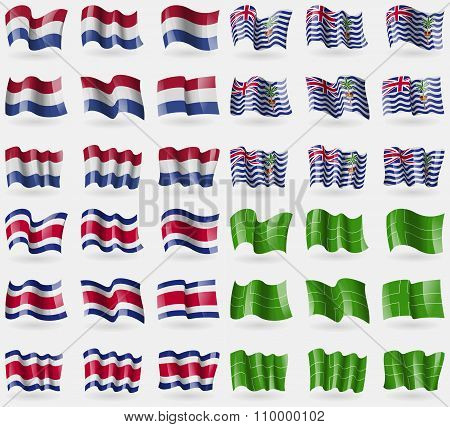 Netherlands, British Indian Ocean Territory, Costa Rica, Ladonia. Set Of 36 Flags Of The Countries
