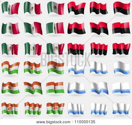 Mexico, Upa, Niger, Altai Republic. Set Of 36 Flags Of The Countries Of The World.