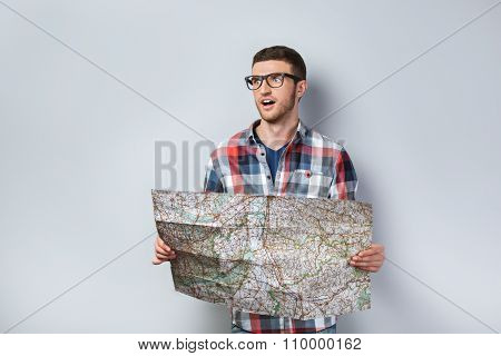 Travel concept for emotional young man