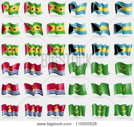 Sao Tome And Principe, Bahamas, Kiribati, Mauritania. Set Of 36 Flags Of The Countries Of The