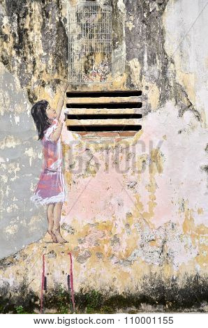 Girl Painted By Ernest Zacharevic In Ipoh.