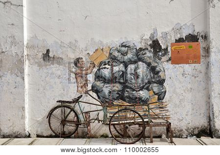 Trishaw Painted By Ernest Zacharevic In Ipoh.