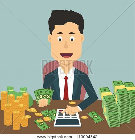 Vector flat illustration of businessman with pile a money