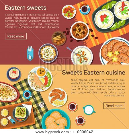 Vector flat illustration of eastern sweets dishes.