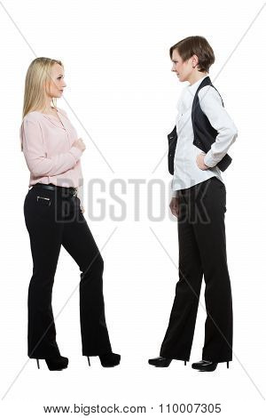 two businesswomen, isolated on white background. body language, gestures psychology. paired gestures