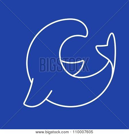 Sea Lion Logo. Line Art Style.