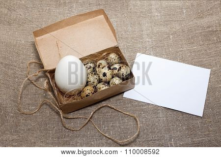 farm eggs in a box and card