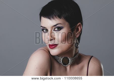 Sensual gesture girl dressed in the style of 20s and 30s