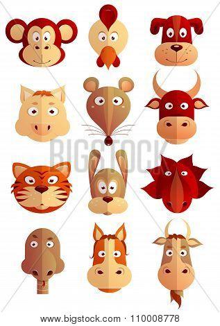 Chinese zodiac symbols as cartoon animals
