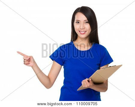 Asian Young Woman hold with clipboard and finger point up