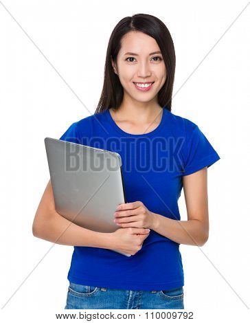 Asian Young Woman hold with notebook computer