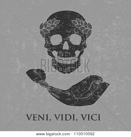 The skull of Caesar with text VENI, VIDI, VICI