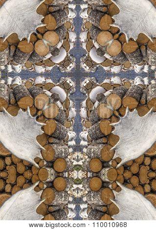 kaleidoscope cross: firewood and moose antlers