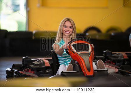 Young Woman Driving Go-kart Karting Race