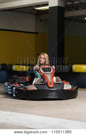 Woman Is Driving Go-kart With Speed In Karting