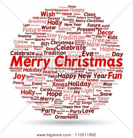 Concept or conceptual Merry Christmas holiday or Happy New Year winter abstract text word cloud on white background, metaphor to celebration, Santa, festive, december, love, family, joy or home