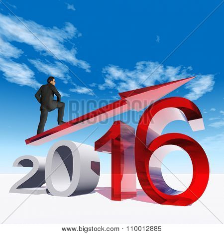 Conceptual 3D  human,man or businessman standing over an red 2016 year symbol with an arrow on blue sky background