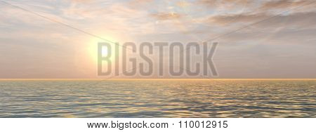 A beautiful seascape with water and waves and a sky with clouds at sunset banner
