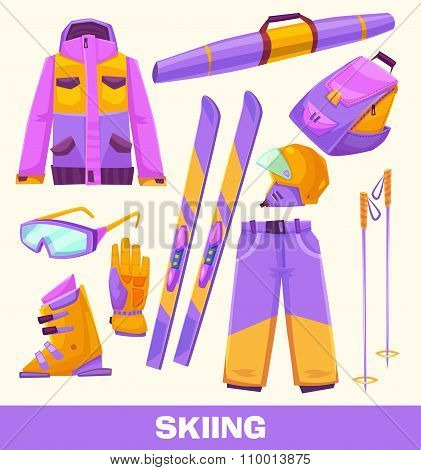 Vector skiing elements, clothes and tools  isolated on white background.
