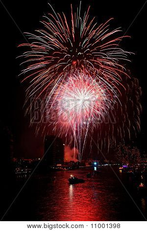 Big Colorful Firework Over Chaophraya River Bangkok On Father's Day,bangkok Thailand