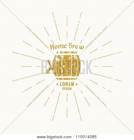 Vintage Logo Beer, decorative lettering and sign.