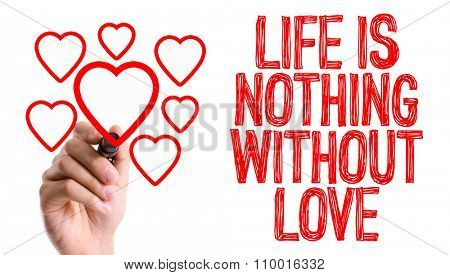Hand with marker writing: Life is Nothings Without Love