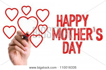 Hand with marker writing: Happy Mothers Day