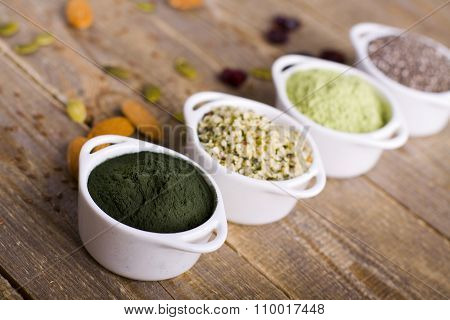 Superfoods raw seeds and powder.