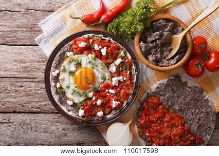 Mexican Huevos Rancheros On The Plate. Horizontal Top View