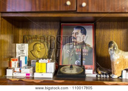 VINNITSY, RUSSIA - NOV 30, 2015: The Portrait Of Stalin - Interior of the house of the elderly people from the village.