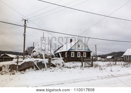VINNITSY, RUSSIA - NOV 30, 2015: One of the streets in Vinnitsy. The village is considered the center of settlement of Vepsians - small Finno-Ugric peoples. Now total population Veps in Russia ~6,000.