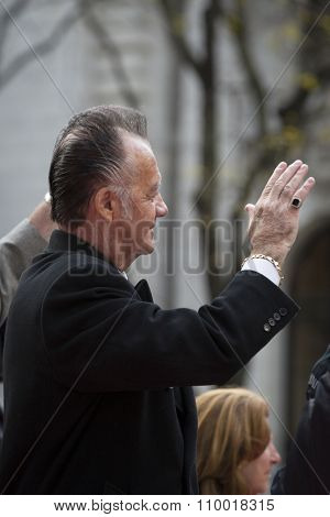 NEW YORK - NOV 25 2015: Actor Tony Sirico on a float in the annual Americas Parade up 5th Avenue on Veterans Day in Manhattan.