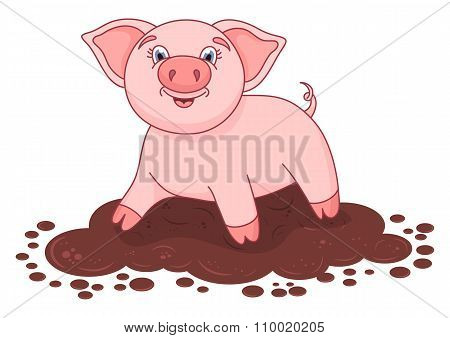 Vector illustration of cute pig in a puddle