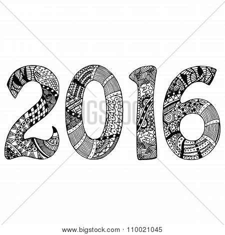 Black and white 2016 with hand-drawn pattern
