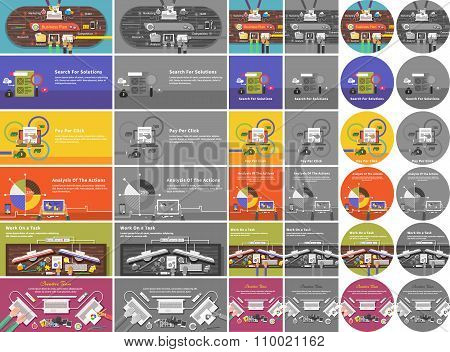 Set of Banner Concept Pay Per Click, Business Plan
