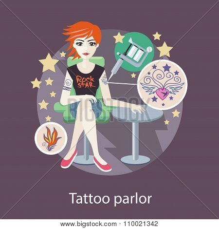 Tattoo Parlor Flat Style Design