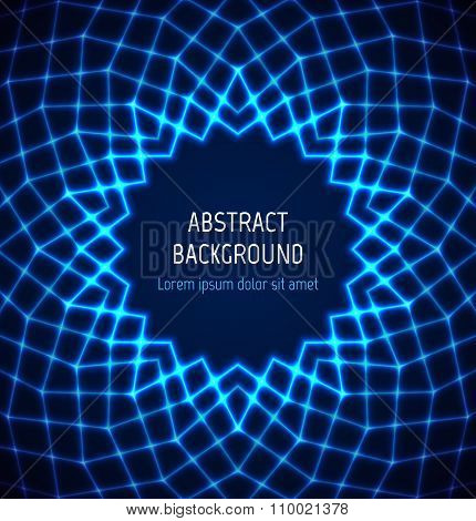 Abstract blue circle polygonal border background with light effects