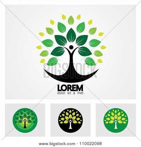 Human Life Logo Icon Of Abstract People Tree Vector Set