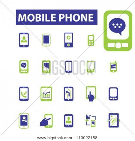 mobile phone, telephone, cell  icons, signs vector concept set for infographics, mobile, website, application