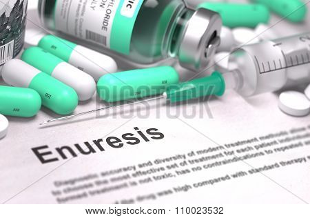 Diagnosis - Enuresis. Medical Concept with Blurred Background.