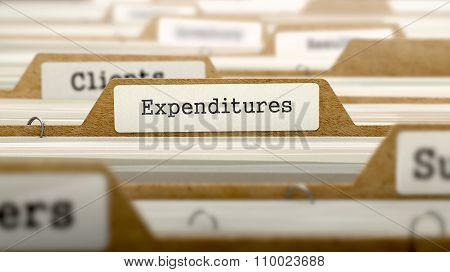 Expenditures Concept with Word on Folder.