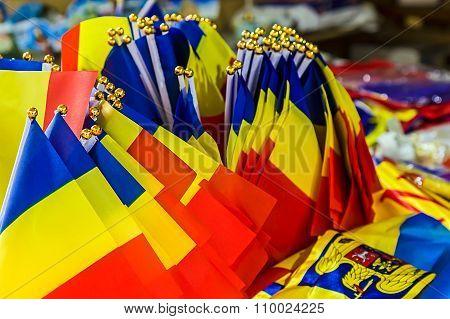Group Of Small Romanian Flags