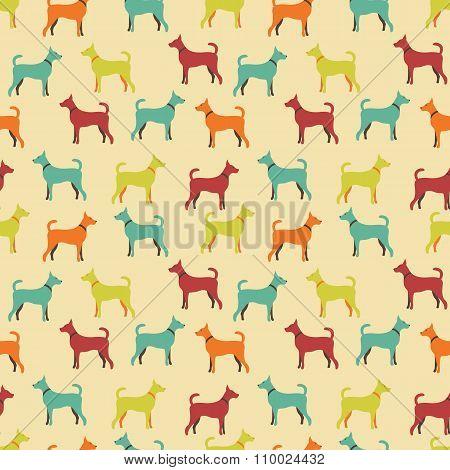 Animal seamless pattern of dog silhouettes
