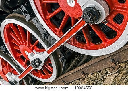 Detail And Close Up Of Huge Wheels At One Old German Steam Locomotive 10