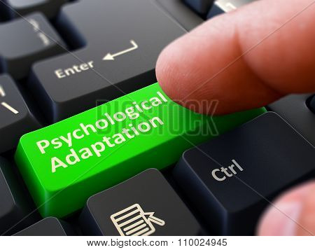Finger Presses Green Keyboard Button Psychological Adaptation.