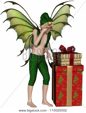 Christmas Fairy Elf Boy with Pile of Presents