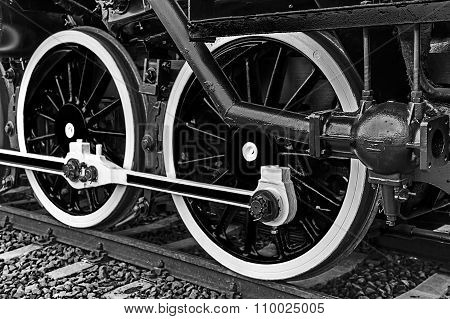 Black And White Detail And Close Up Of Huge Wheels At One Old Steam Locomotive 11